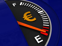 Fuel meter with euro sign. 3d illustration of fuel meter with euro sign Royalty Free Stock Photos