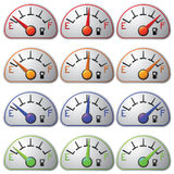 Fuel meter set isolated on white background.  Stock Photo