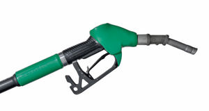 Fuel nozzle. Isolated green fuel nozzle on white background Stock Image
