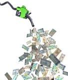 Fuel nozzle with dirham banknotes Stock Photos