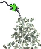 Fuel nozzle with dollar banknotes Stock Photo