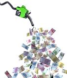 Fuel nozzle with euro banknotes Royalty Free Stock Image