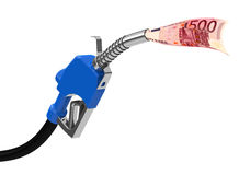 Fuel nozzle with 500 Euro note Stock Photo