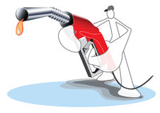 Fuel Nozzle and Gas station attendant Royalty Free Stock Photography