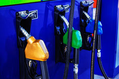 Fuel nozzle in the gas station. Stock Images