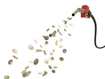 Fuel nozzle pouring Eur coins Royalty Free Stock Images