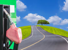 Fuel nozzle service station with empty asphalt road and big tree in green meadow Stock Photography