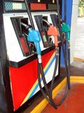 Fuel nozzles. fuel pumps. service, petrol, or gas station Stock Image
