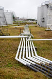 Fuel (oil) pipes in territory of a petrofactory. Royalty Free Stock Photo