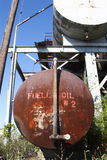 Fuel oil tanks at quarry. Close-up image of a rusted old fuel oil tank at a quarry Royalty Free Stock Photo