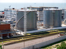 Fuel oil terminal tanks. In the port on the sea stock image