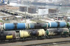Fuel oil terminal tanks in the port Royalty Free Stock Photo