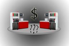 Fuel, petrol dispenser, pump, handles and pillars Royalty Free Stock Photos