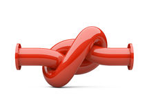Fuel pipeline with a knot. Crisis. Stock Photos