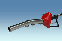 Fuel pistol on blue background Royalty Free Stock Images