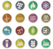 Fuel and power icon set Royalty Free Stock Photos