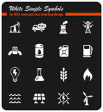 Fuel and power icon set. Fuel and power white simple symbols for web icons and user interface design Stock Photo