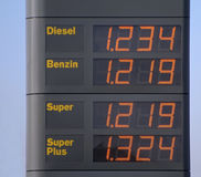 Fuel prices. Fuel price display in orange letters stock photo