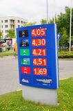Fuel prices board. Blue board showing different fuel prices including diesel and benzine in Poznan, Poland Royalty Free Stock Photos