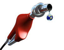 Fuel pump. With Earth globe in last drop of oil - 3d render Stock Photography
