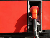 Fuel Pump. In horizontal orientation. Red/orange, with empty space for text Royalty Free Stock Photography