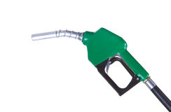 Fuel pump. A green fuel nozzle on a white background Stock Photography