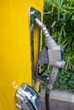 Fuel pump, antique and he canceled the use for a long time. To be placed in another place and to commemorate and taking close up Stock Photos