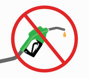 Fuel pump with ban or stop icon and drop gasoline with white background Royalty Free Stock Image