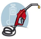 Fuel pump with dispenser. At the gas station Royalty Free Stock Image