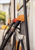 Fuel pump dispensers. In Gas Station Stock Image