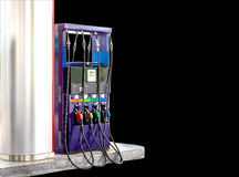 Fuel pump dispensers isolate on black background with clipping p Royalty Free Stock Images