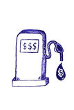Fuel Pump and Dollar at Liquid Drop Stock Photo