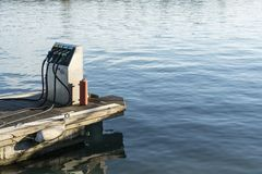 Fuel pump. For boats on the dock royalty free stock image