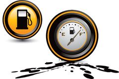 Fuel pump and gas gauge on oil Royalty Free Stock Images