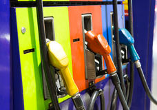Fuel pump in a gas station. At night royalty free stock images