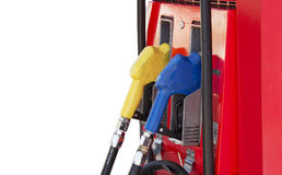 Fuel pump in the gas station,petrol. Fuel pump in the gas station on white background and spacing for caption Royalty Free Stock Image