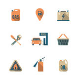 Fuel Pump Icons Set. Gas fueling pump electric car charging station mechanic repair service icons set flat isolated abstract vector illustration Stock Photos