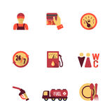 Fuel Pump Icons Set. Gas petrol fuel pay at the pump 24h availability station icons set flat isolated abstract vector illustration Royalty Free Stock Photography