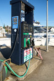 Fuel pump at marina. Des Moines, WA, USA Feb. 22, 2017: Fuel dock at Des Moines, Washington marina provides both gasoline and diesel fuel for boaters Stock Photo