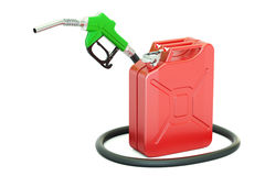 Fuel pump nozzle with jerrycan, 3D rendering Royalty Free Stock Photos