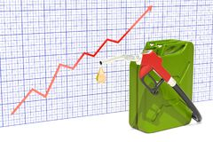 Fuel pump nozzle and jerrycan with growing chart. 3D rendering. Fuel pump nozzle and jerrycan with growing chart. 3D Stock Image