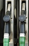 Fuel pump nozzles Royalty Free Stock Images