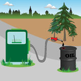 Fuel pump and oil barrel Stock Photography