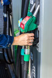 At the fuel pump Stock Image
