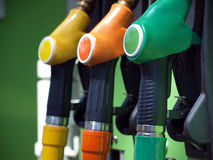 Fuel pumps. Close-up of colored fuel pumps at the petrol station Royalty Free Stock Photo