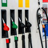 Fuel pumps. At Petrol Station Stock Image