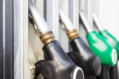 Fuel pumps at the Gas station Stock Image