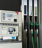 Fuel pumps in a gas station. View of fuel pumps in a gas station Stock Photography