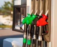 Fuel pumps at petrol station Royalty Free Stock Photo