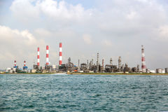 Fuel Reprocessing Plant in the port. Fuel reprocessing factory in the terminal of the port of Singapore Stock Photos